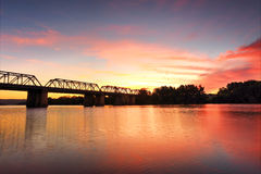 Spectacular Sunset over Nepan River Penrith. Spectacular sunset over the Nepean River, Penrith near the old Victoria Bridge Royalty Free Stock Photography