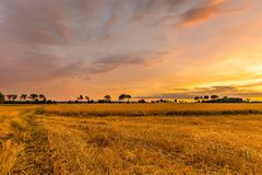 Spectacular sunset over stubble field. Polish countryside after harvest Stock Photos