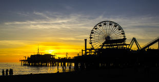 Spectacular Sunset at Santa Monica Pier in Los Angeles, USA royalty free stock image