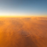 Spectacular sunset view from airplane Stock Photography