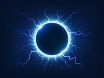 Spectacular thunder and lightning surround blue electric ball. Power energy sphere surrounded electrical lightnings. Spectacular electricity thunder shining vector illustration