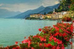 Spectacular town of lake Como with luxury buildings, Bellagio, Italy Stock Photography