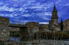 Sunset in the medieval city. royalty free stock images