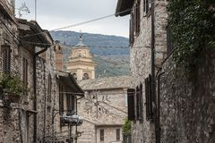 Spectacular traditional italian medieval alley in the historic center of beautiful little town of Spello Stock Image