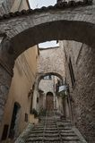 Spectacular traditional italian medieval alley in the historic center of beautiful little town of Spello Perugia Stock Photo