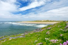 Spectacular Tullan Strand, one of Donegal`s renowned surf beaches, framed by a scenic back drop provided by the Sligo-Leitrim Mou. Ntains. Wide flat sandy beach stock image