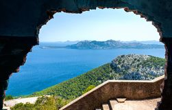Seascape view in Mallorca, Spain. Spectacular view from abandoned house on top of the mountain at Cap de Formentor, north Mallorca, Spain Stock Images
