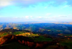 Breathtaking view from above at Marchegian hills royalty free stock photography