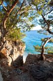 Spectacular view of Adriatic Sea from stone cliff in Dalmatia royalty free stock photography