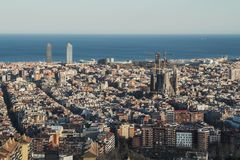 This is the spectacular view of Barcelona, Spain stock photography