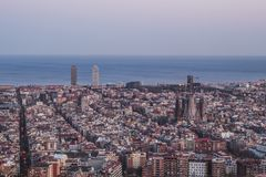 This is the spectacular view of Barcelona, Spain. It is almost nightime. stock images