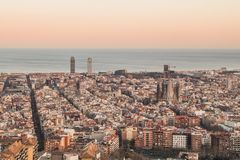 This is the spectacular view of Barcelona, Spain, at sunset. The iky looks amazing with vanilla colors. stock image