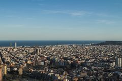This is a wide and spectacular view of Barcelona, Spain. stock photo