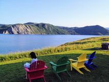 A spectacular view of Bonne Bay off of Norris point in Gros Morn stock photography