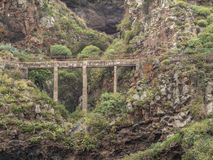 Spectacular view of a bridge over a barranco en tenerife. A spectacular view of a bridge over a barranco en tenerife stock photos