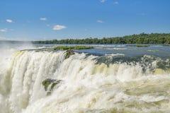 Spectacular view of devil throat falls at Iguazu park Stock Images