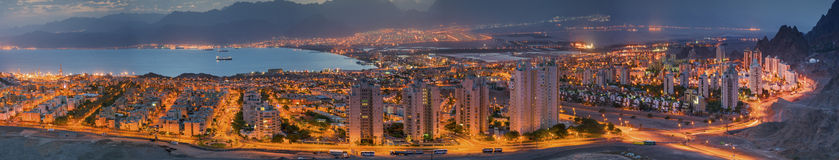 Spectacular view on Eilat city and Aqaba gulf Stock Images