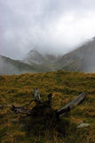 Spectacular view of the Fagaras mountains in fog Royalty Free Stock Photos