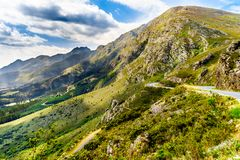 Spectacular view of Franschhoek Pass which runs along Middagskransberg between Franschhoek and Villiersdorp in the Western Cape. Spectacular view of Franschhoek stock photo