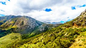 Spectacular view of Franschhoek Pass which runs along Middagskransberg between Franschhoek and Villiersdorp in the Western Cape. Spectacular view of Franschhoek Royalty Free Stock Image