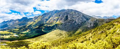 Spectacular view of Franschhoek Pass which runs along Middagskransberg between Franschhoek and Villiersdorp in the Western Cape. Spectacular view of Franschhoek royalty free stock photo
