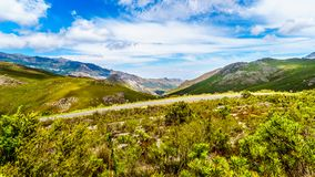 Spectacular view of Franschhoek Pass which runs along Middagskransberg between Franschhoek and Villiersdorp in the Western Cape. Spectacular view of Franschhoek Stock Photos