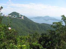 Spectacular view from the Governor`s Walk, Victoria Peak, Hong Kong stock photo