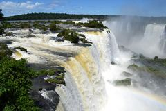 Spectacular view of the Iguazu waterfalls Stock Photos