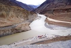 Spectacular view of Indus-Zanskar confluence in Ladakh. A bird`s eye view of the spectacular view Indus-Zanskar confluence in Ladakh Royalty Free Stock Photos