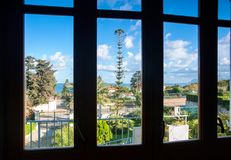 Spectacular view of italian nature in village through the window Stock Photo