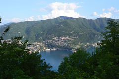 Spectacular view of Lake Como from the top of San Maurizio of Brunate, Como, Italy Royalty Free Stock Images