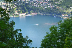 Spectacular view of Lake Como from the top of San Maurizio of Brunate, Como, Italy Royalty Free Stock Image
