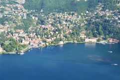 Spectacular view of Lake Como from the top of San Maurizio of Brunate, Como, Italy Royalty Free Stock Photo