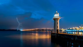 A Lighthouse is a safe harbour for sailors in stormy seas. A spectacular view of a lighthouse amidst impending storms. A scene to depict relative calm, safety Royalty Free Stock Image