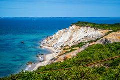 The famous Gay Head Cliffs in Cape Cod Martha`s Vineyard, Massachusetts royalty free stock photography