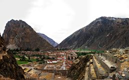Spectacular view of Ollantaytambo. A spectacular view of the small town of Ollantaytambo from the Inca ruins royalty free stock images