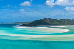 Spectacular view of picturesque Whitsunday island beach and lagoon. From Hill Inlet. Tropical beach paradise. Queensland, Australia royalty free stock photography
