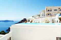 Spectacular view private pool Santorini resort hotel entrance Stock Photos