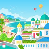 Spectacular View of Resort Town with Long Beach. Amazing old-fashioned architecture, air balloons in sky and green spaces vector illustration Royalty Free Stock Image