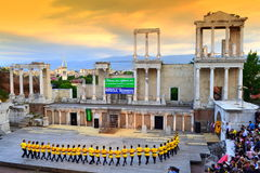 Spectacular view of Roman amphitheater scene Royalty Free Stock Image