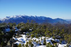 Panorama of the Snow Mountain landscape. Royalty Free Stock Image