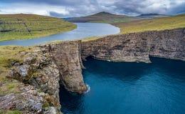 Sorvagsvatn lake cliffs over the ocean, Faroe Islands