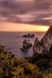 Spectacular view of the sunset in Palaiokastritsa Corfu Greece. Long exposure. Royalty Free Stock Photography