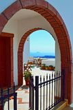 Spectacular view terrace Santorini resort hotel entrance Stock Photos