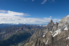 Spectacular view to Mount Blanc massif from 360 degree observation terrace at the Punta Helbronner (Pointe Helbronner) mountain i. Spectacular view to Mount royalty free stock images