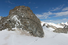 Spectacular view to Mount Blanc massif from 360 degree observati. Spectacular view of Mount Blanc Stock Photo