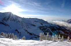 Spectacular view to the Mountains from Snowbird ski resort in Utah Royalty Free Stock Photography
