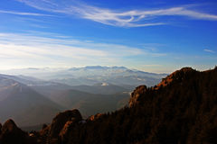 Spectacular view from the top of the Ciucas mountains, Romania Royalty Free Stock Photos