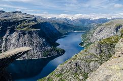 Spectacular view of Trolltunga rock with a blue lake 700 meters lower and interesting sky with few clouds royalty free stock photos