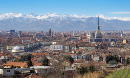 Spectacular view of Turin with several tourist attractions Royalty Free Stock Photo